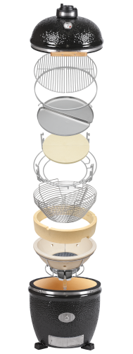 Exploding diagram showing component parts of Monolith Pro Series 1.0 ceramic grill