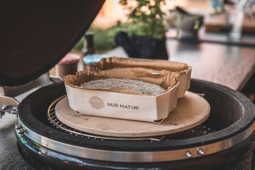 Place your bread basket on the kamado pizza stone